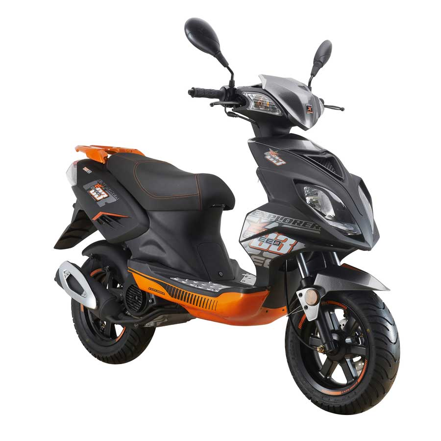 explorer speed 125 motorroller 2016 schwarz orange 90 km. Black Bedroom Furniture Sets. Home Design Ideas