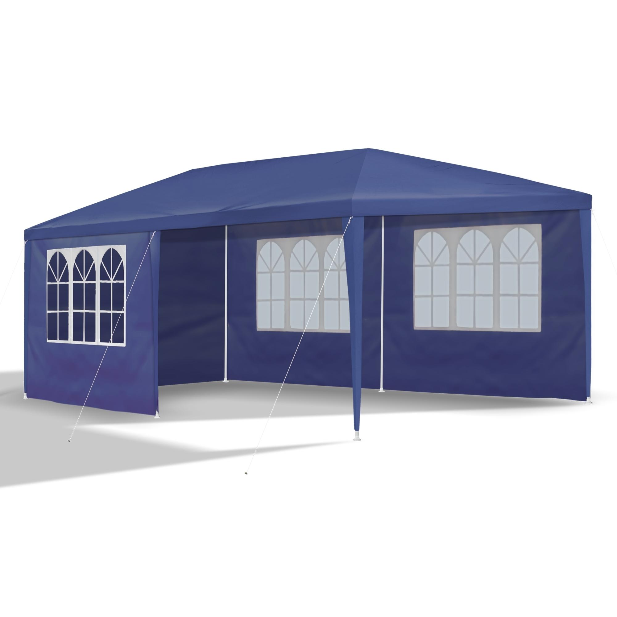 gartenpavillon 3 x 6 m blau pavillon pavillion partyzelt festzelt gartenzelt mit 6. Black Bedroom Furniture Sets. Home Design Ideas