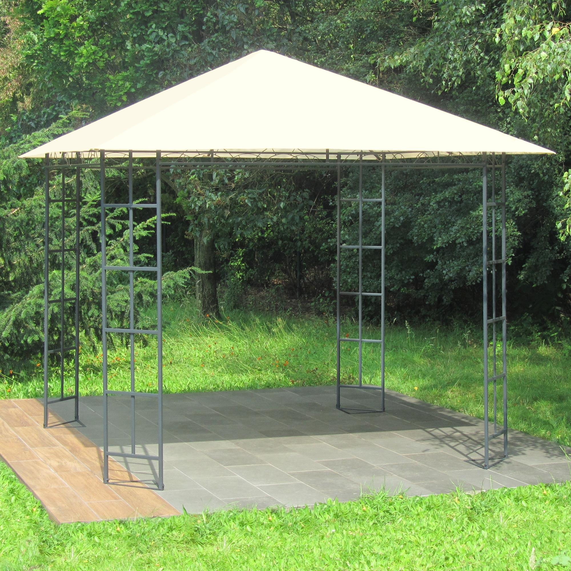 metall pavillon 3 x 3 m gartenpavillon anthrazit grau pulverbeschichtet dach in cremeton. Black Bedroom Furniture Sets. Home Design Ideas